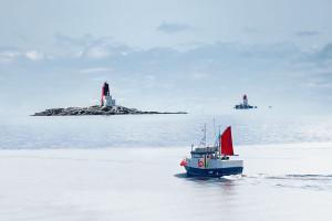 Vikna, Grinna og Gjæslingan fyr. Foto: Steinar Johansen