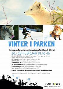 Plakat for vinterferie i Namsskogan Familiepark