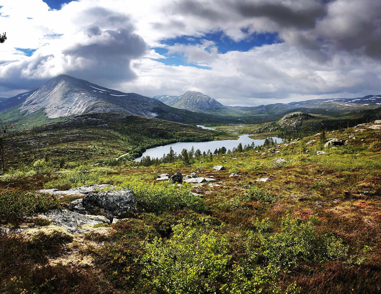 Storgåsvatnet i Namsskogan en sommerdag. En av flere grunner til å besøke Namsskogan. Foto: Camilla A. Haug