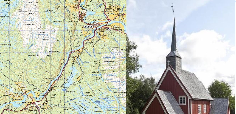 Bilde av kart over nordleden og gløshaug kirke